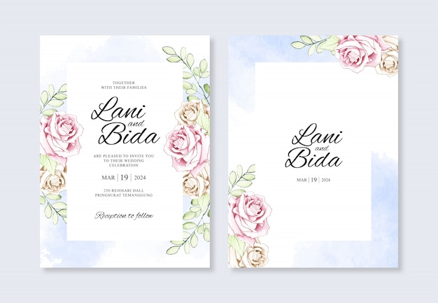 Uitnodiging voor bruiloft kaart met handgeschilderde aquarel bloemen en plons
