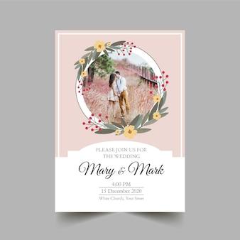 Uitnodiging voor bruiloft met afbeelding sjabloon