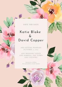 Uitnodiging voor bruiloft met aquarel bloemen paarse roos en roze pioenrozen