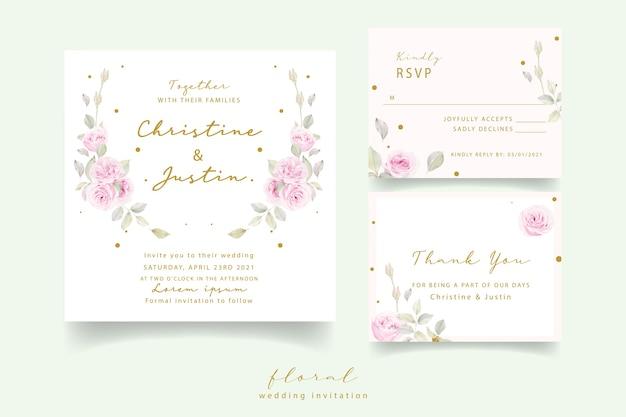Uitnodiging voor bruiloft met aquarel bloemen rozen