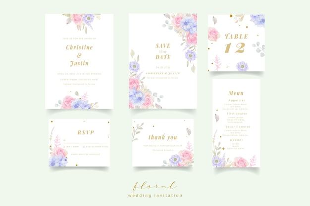 Uitnodiging voor bruiloft met aquarel bloemen