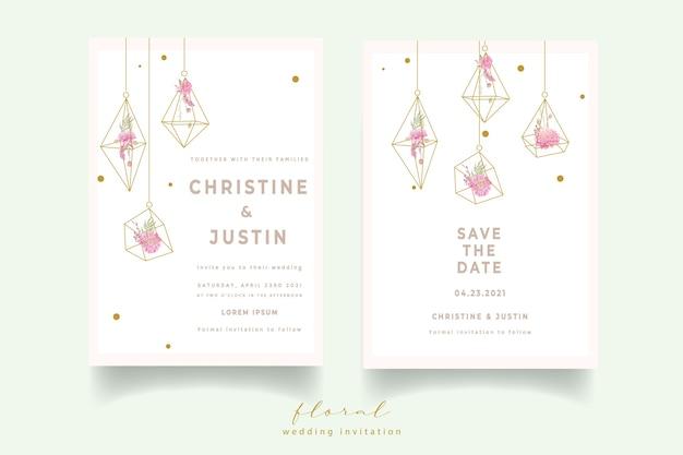 Uitnodiging voor bruiloft met aquarel dahlia's bloemen