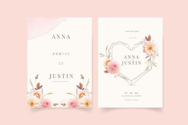 Uitnodiging voor bruiloft met aquarel dahlia's en roos