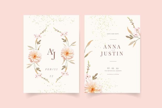 Uitnodiging voor bruiloft met aquarel dahlia's