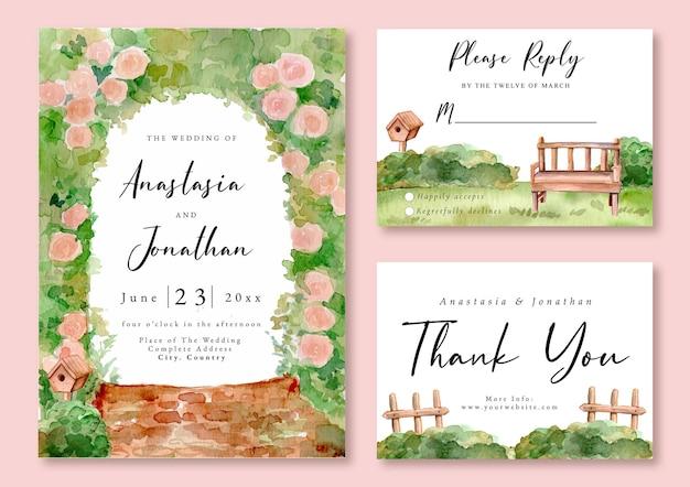 Uitnodiging voor bruiloft met aquarel landschap van romantische tuin in het voorjaar