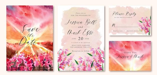 Uitnodiging voor bruiloft met aquarel landschap van roze zonsonderganghemel en veld van roze lavendel