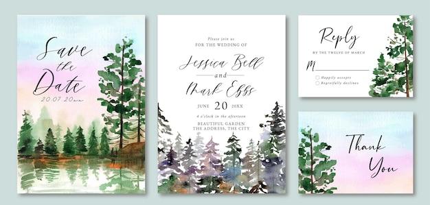 Uitnodiging voor bruiloft met aquarel paarse zonsonderganghemel en dennenbos