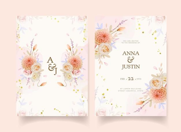 Uitnodiging voor bruiloft met aquarel roos en dahlia bloem