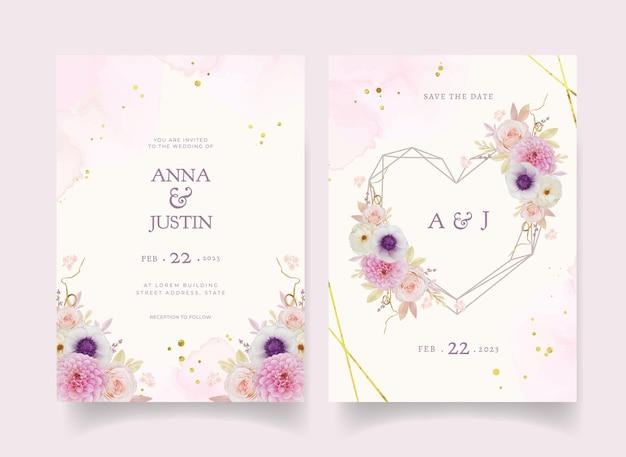 Uitnodiging voor bruiloft met aquarel roze dahlia en anemoon bloem Premium Vector