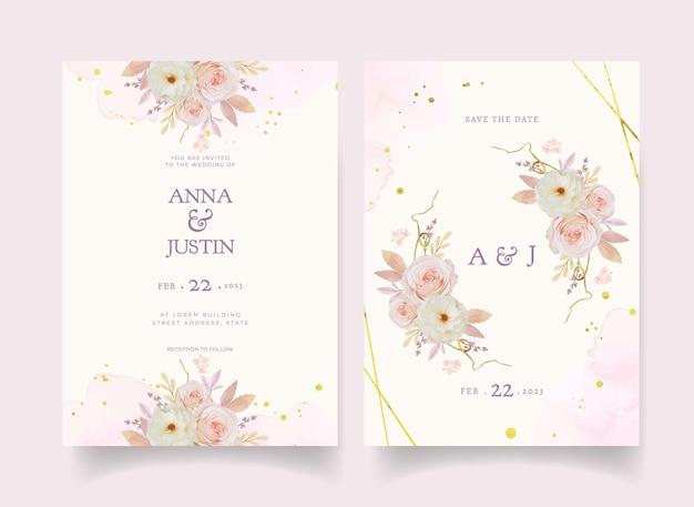 Uitnodiging voor bruiloft met aquarel roze dahlia en anemoon bloem