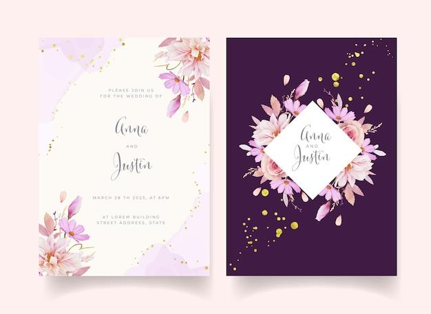 Uitnodiging voor bruiloft met aquarel roze dahlia en ranunculus bloem