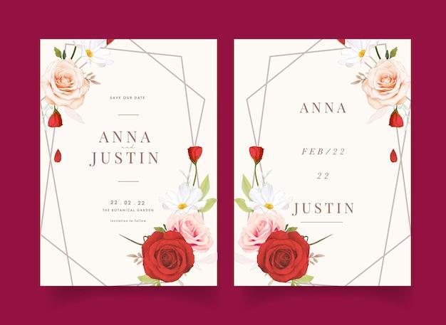 Uitnodiging voor bruiloft met aquarel roze en rode rozen
