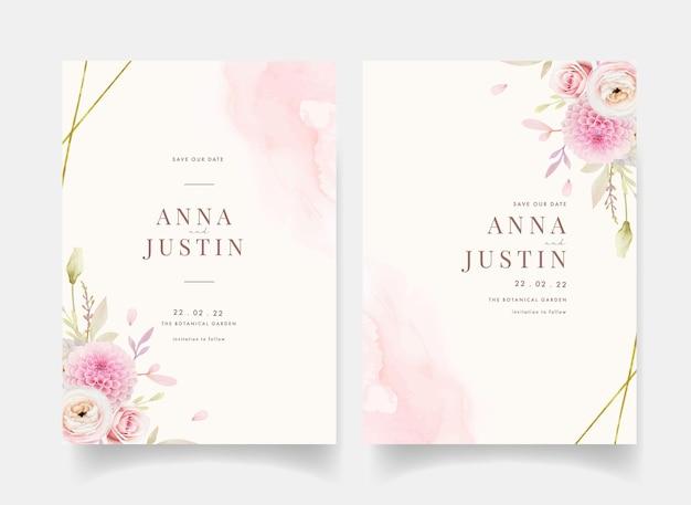 Uitnodiging voor bruiloft met aquarel roze rozen boterbloem en dahlia