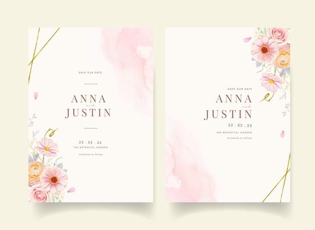 Uitnodiging voor bruiloft met aquarel roze rozen en boterbloem bloem