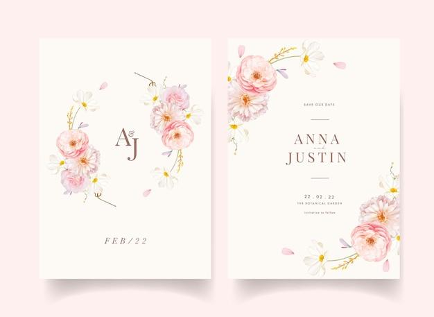 Uitnodiging voor bruiloft met aquarel roze rozen en dahlia