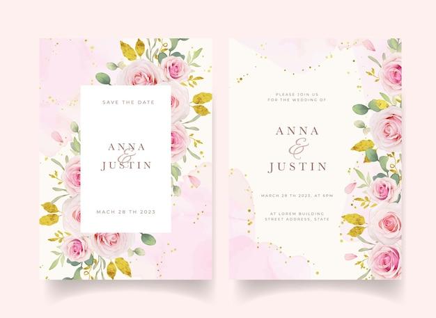 Uitnodiging voor bruiloft met aquarel roze rozen en gouden sieraad Premium Vector