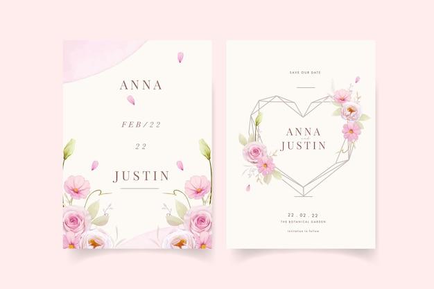 Uitnodiging voor bruiloft met aquarel roze rozen