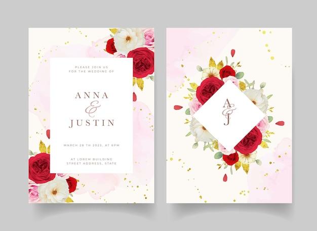 Uitnodiging voor bruiloft met aquarel roze witte en rode rozen