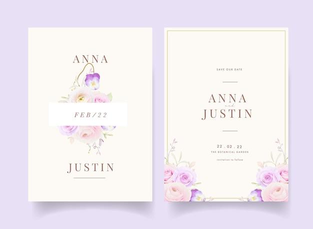 Uitnodiging voor bruiloft met aquarel rozen boterbloem en viooltje bloem