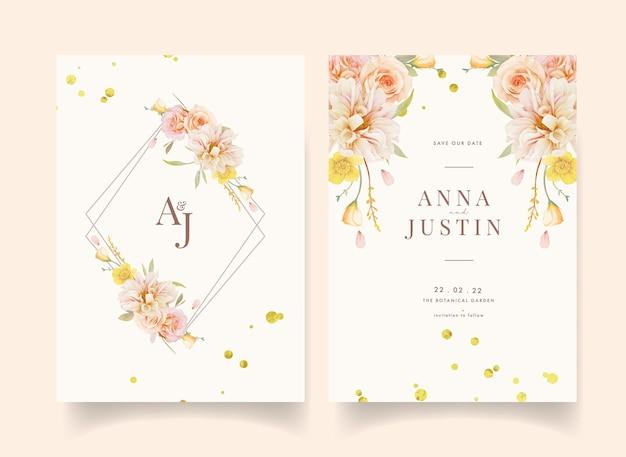 Uitnodiging voor bruiloft met aquarel rozen en dahlia