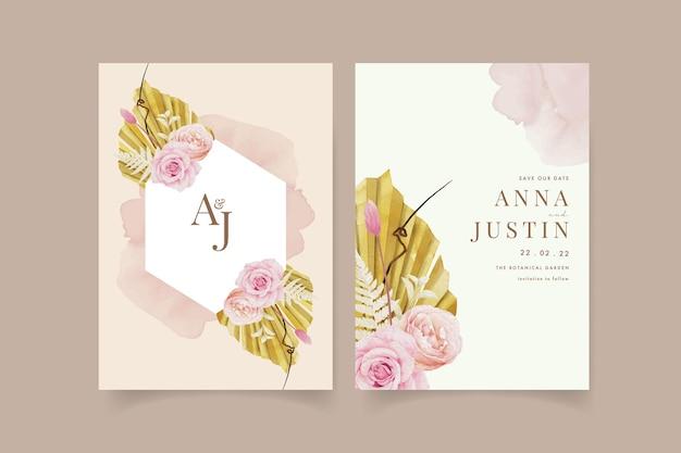Uitnodiging voor bruiloft met aquarel rozen en gedroogde palm