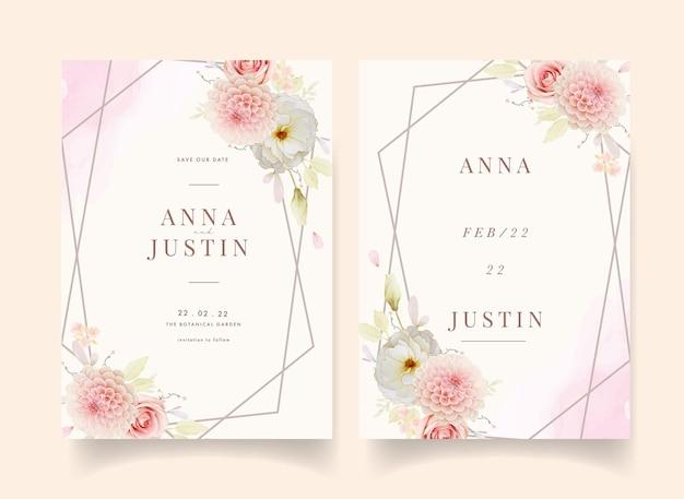 Uitnodiging voor bruiloft met aquarel rozen en roze dahlia