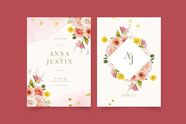 Uitnodiging voor bruiloft met aquarel rozen en zinnia