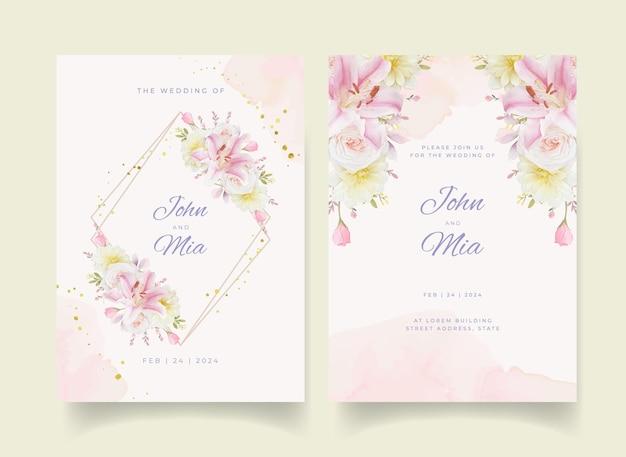 Uitnodiging voor bruiloft met aquarel rozen lelie en dahlia bloem