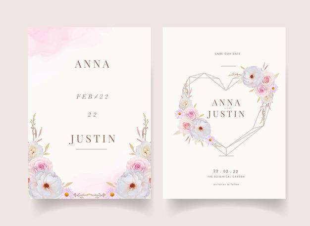 Uitnodiging voor bruiloft met aquarel rozen