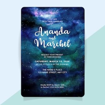 Uitnodiging voor bruiloft met aquarel sterrennacht