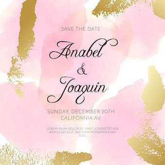 Uitnodiging voor bruiloft met aquarel vlekken