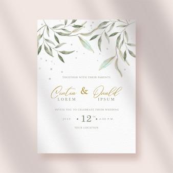 Uitnodiging voor bruiloft met artistieke bladeren aquarel