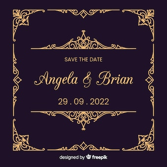 Uitnodiging voor bruiloft met decoratieve sjabloon