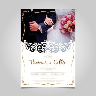 Uitnodiging voor bruiloft met fotosjabloon