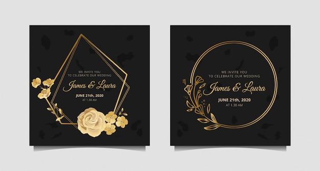 Uitnodiging voor bruiloft met gouden roos, botanische, cirkel en zeshoekige frame
