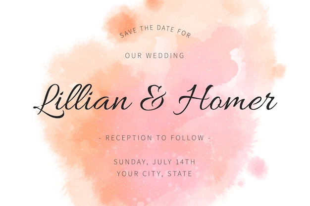 Uitnodiging voor bruiloft met kleurovergang aquarel roze vlekken
