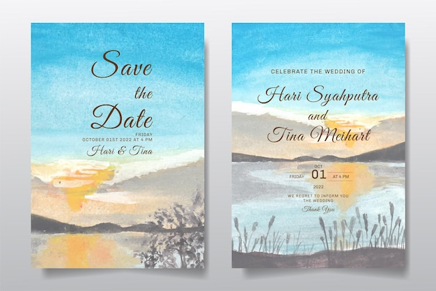 Uitnodiging voor bruiloft met landschap blauwe lucht en heuvel aquarel ontwerp