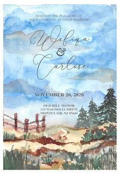 Uitnodiging voor bruiloft met landschap heuvel aquarel