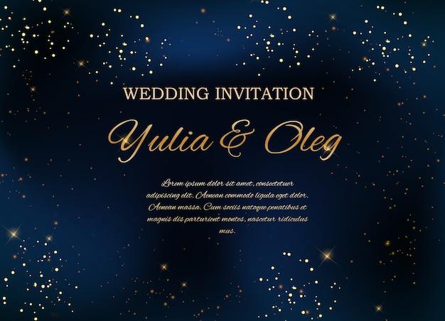 Uitnodiging voor bruiloft met nachtelijke hemel en sterren