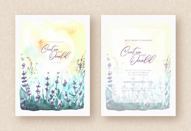 Uitnodiging voor bruiloft met prachtige paarse bloemen landschap