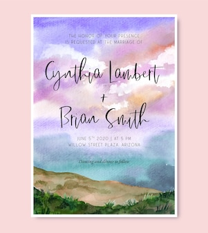 Uitnodiging voor bruiloft met prachtige paarse zonsondergang landschap aquarel