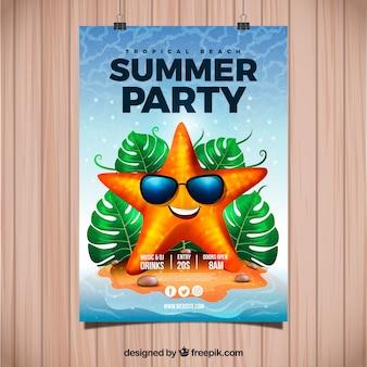 Uitnodiging voor de zomer met koele zeester in realistische stijl