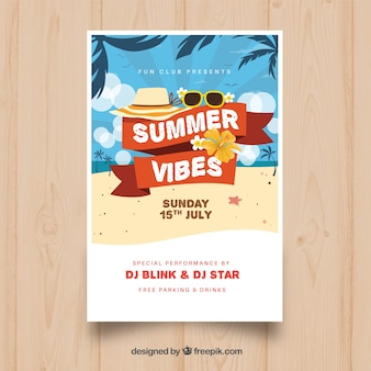 Uitnodiging voor de zomer met strand elementen