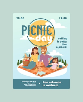 Uitnodiging voor een picknick dag familie-evenement aankondiging van buitenactiviteiten voor ouders met kinderen