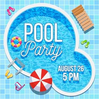 Uitnodiging voor feest zomer met zwembad sjabloon
