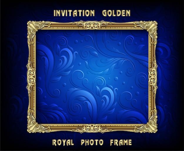 Uitnodiging voor gouden fotolijst vector ontwerp