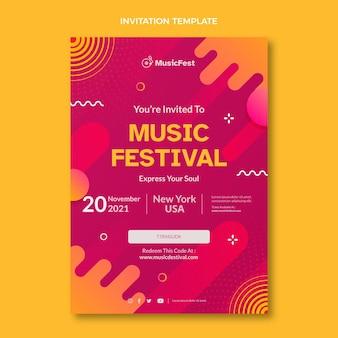 Uitnodiging voor halftoonmuziekfestival met kleurovergang