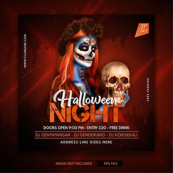 Uitnodiging voor halloween-avondfeest voor sociale media voor spandoekpost