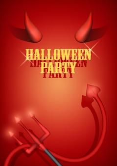 Uitnodiging voor halloween-feest met duivelshoorns, staart en vork. .
