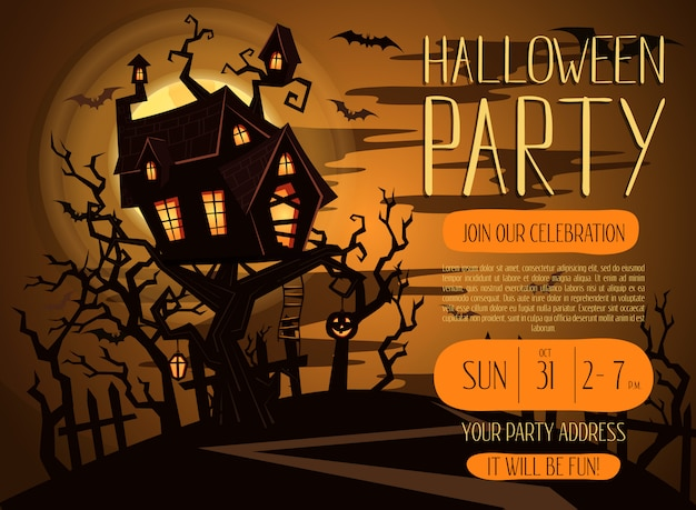 Uitnodiging voor halloween-feest met griezelig kasteel